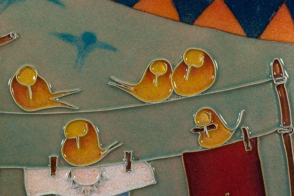 Émail sur cuivre : La corde à linge